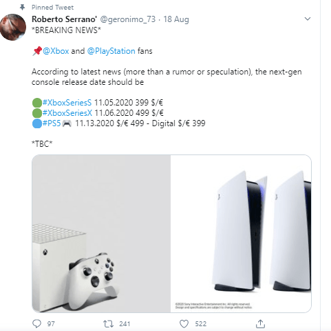 Xbox Series S will be priced at $299 (Serrano wrote it as $399 at first but corrected it in a later tweet), and the Series X will cost $499. On the other hand, the regular PlayStation 5 will be available at $499,, and the digital version will be priced at $399.