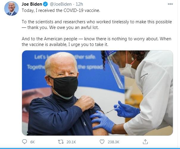 tweet on pfizer vaccination