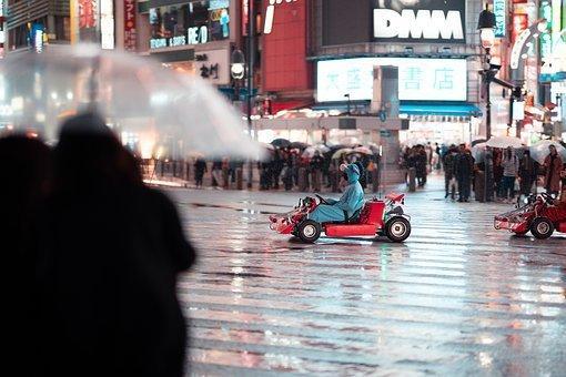 Shibuya, Crossing, Night, Tokyo, Japan